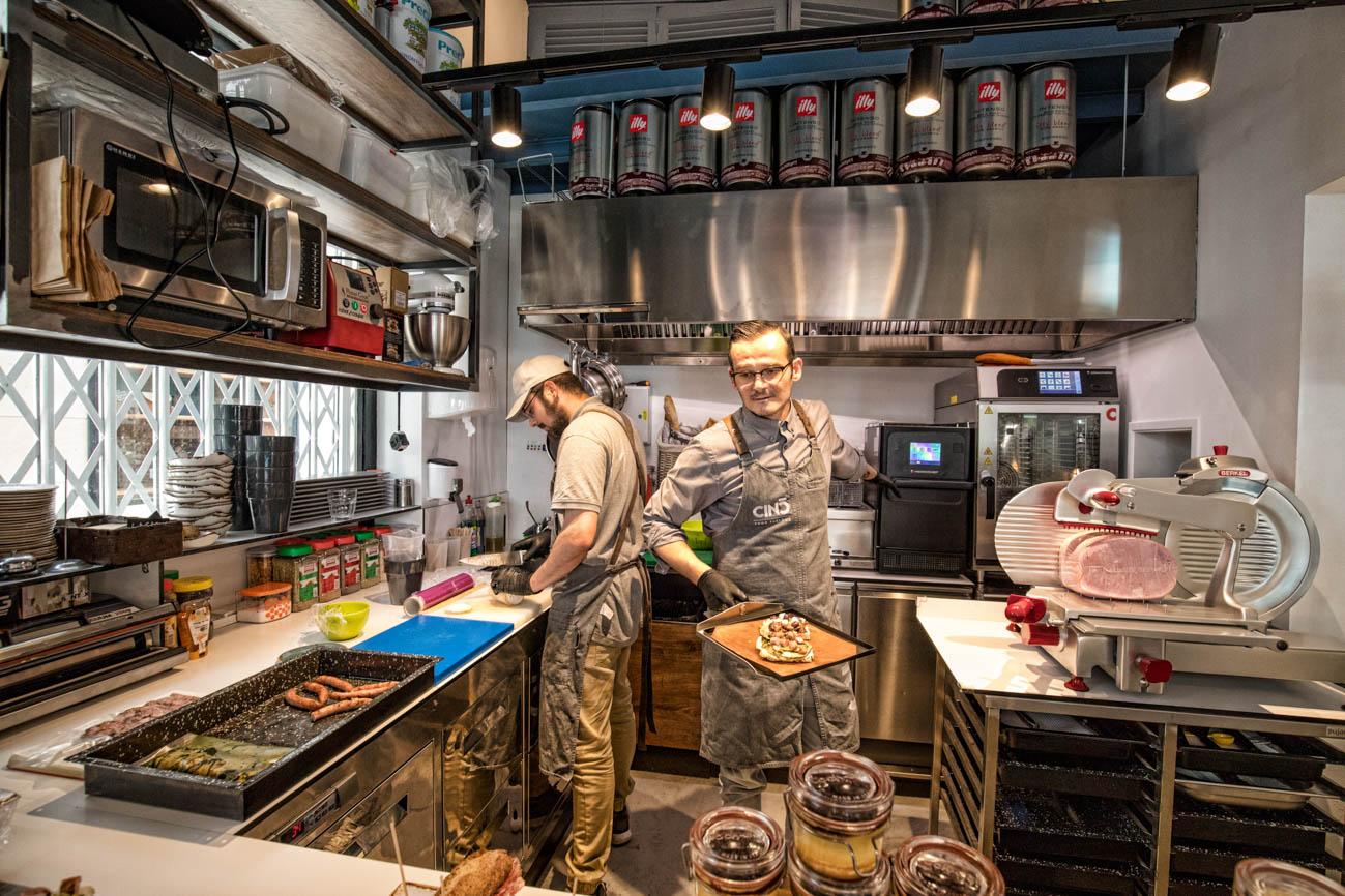 Cinc Restaurant kitchen food preparation