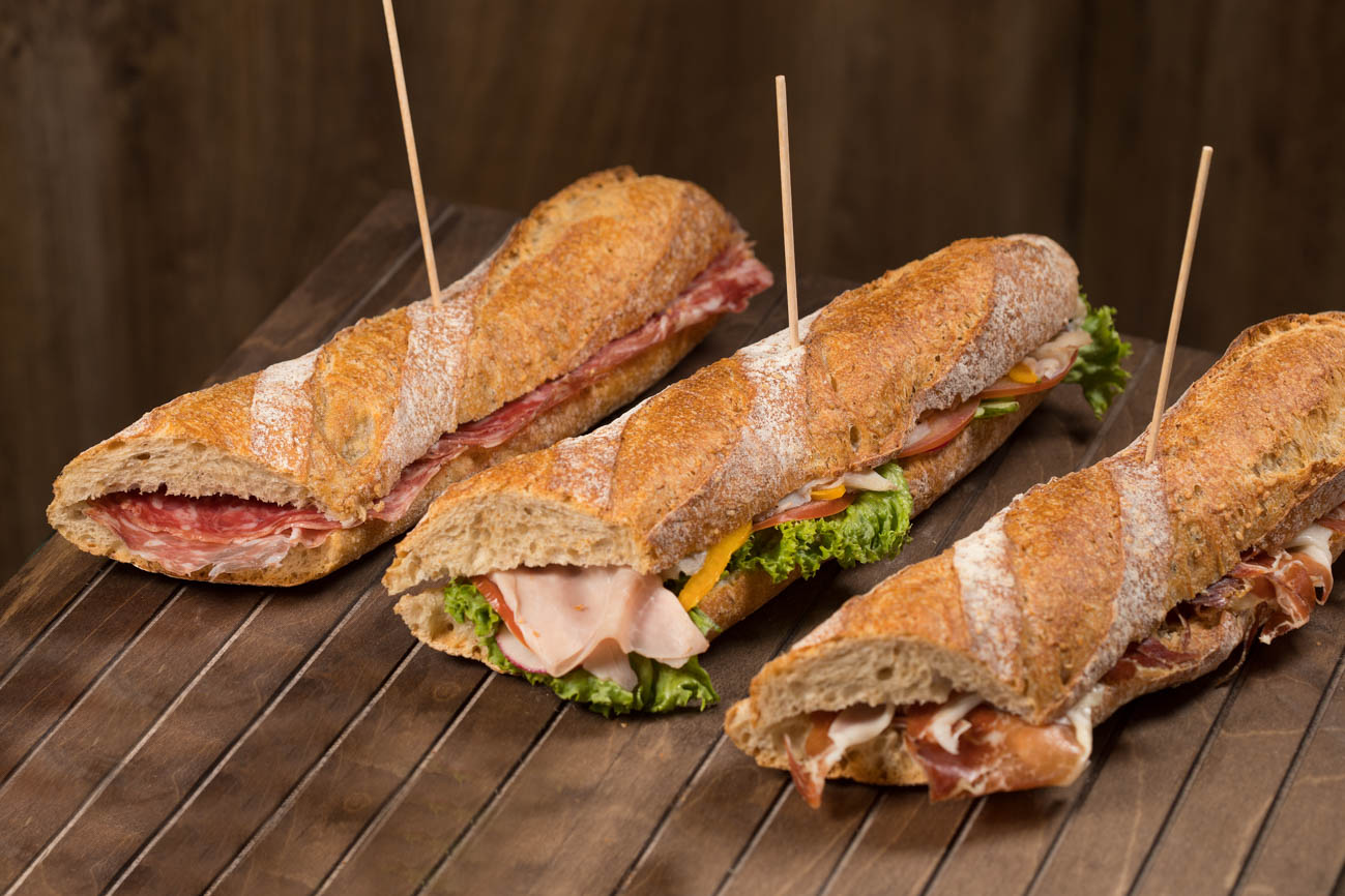 ham and cheese, ham and vegetables, mortadella sandwich